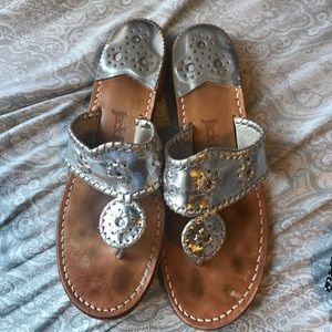 All silver jack Rogers leather sandals